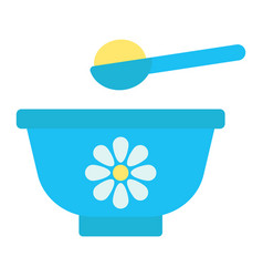 Baby bowl flat icon baby food and nutrition vector