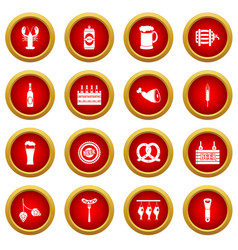 Beer icon red circle set vector
