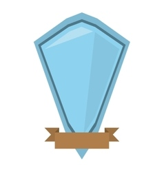 blue shield diamond with brown ribbon vector image