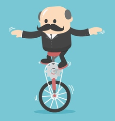 Businessman on one wheel bike vector