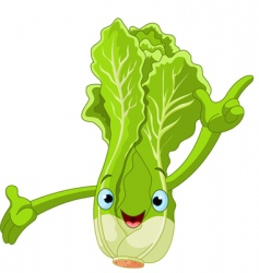 cartoon lettuce character vector image vector image