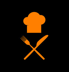 Chef with knife and fork sign orange icon on vector