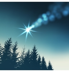 Christmas greeting card invitation Shooting star vector image