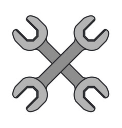 Color image of pair of wrench tool crossed vector