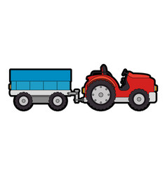 Farm tractor with carriage vector