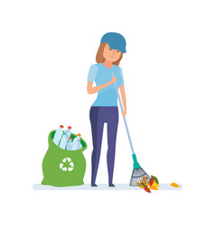 girl collecting plastic bottles cleaning garbage vector image vector image