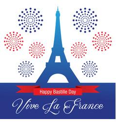 Happy bastille day celebration banner vector