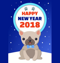happy new year and symbol dog vector image vector image