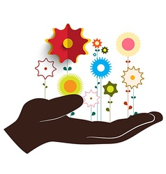 Human Hand Holding Flowers vector image vector image