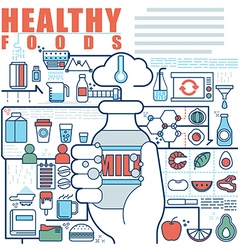 Infographics elements concept of healthy foods vector