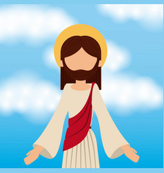 Jesus christ ascension sky background vector