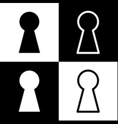 Keyhole sign black and white vector