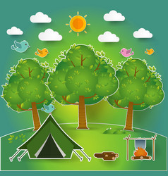 Landscapehiking and camping vector