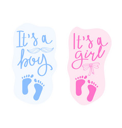 Lettering it is a boy and it is a girl vector