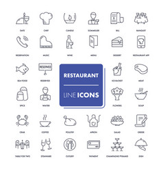 line icons set restaurant vector image