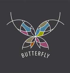 logo schematic butterfly with color inserts vector image vector image