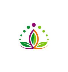 Lotus flower beauty colorful logo vector