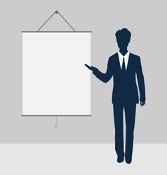 Manager stand near blank board presentation vector