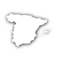 Map of spain with shadow vector