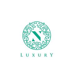 n letter logo luxurybeauty cosmetics logo vector image vector image