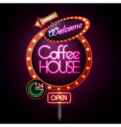 Neon sign coffee house vector