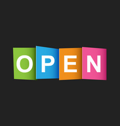 Open tag market message flat on black background vector