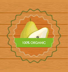 Pear food organic over wooden vector