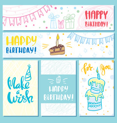 Postcards and banners happy birthday vector