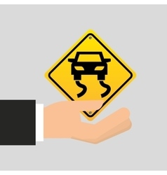 Road sign slippery car icon vector