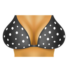 sexy breasts in black bra with white dots vector image