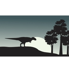 Silhouette of mapusaurus on the park vector