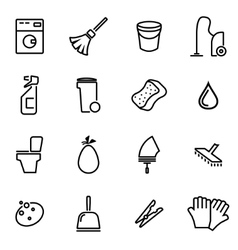 thin line icons - cleaning vector image