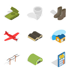 Troops icons set isometric style vector