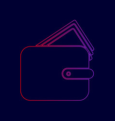 wallet sign line icon with vector image