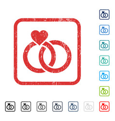 Wedding rings icon rubber watermark vector