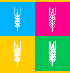 Wheat sign spike spica four styles vector