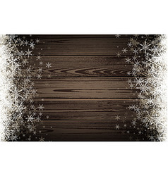 Winter wooden background with snowflakes vector