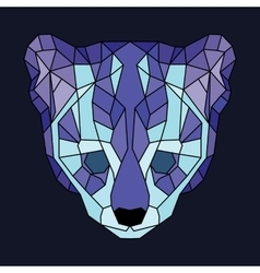 Blue and violet lined low poly ocelot vector