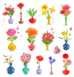 Colorful collection art vases with bouquet of vector