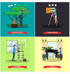 Set of workers profession posters in flat vector