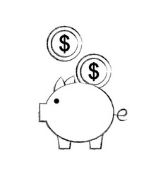 Piggy savings with coins vector