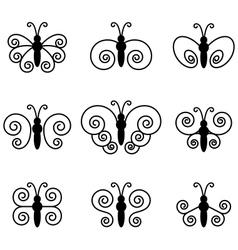 Set of nine butterflies for design vector image