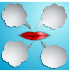 Speech bubble set with lips vector