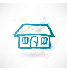 Blue cartoon house brush icon vector
