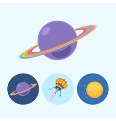 Set icons with saturn spaceship moon vector