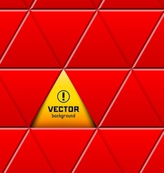 Abstract red triangular pattern with yellow sign vector