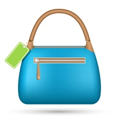 Blue woman spring bag with sale label isolated on vector