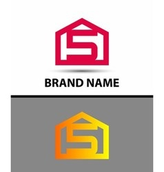 Number 5 logo logotype design with house vector
