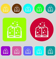 Magic book sign icon open book symbol 12 colored vector