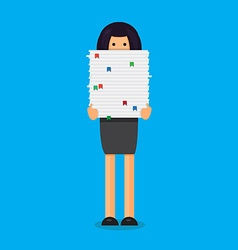Worker with stack of papers vector